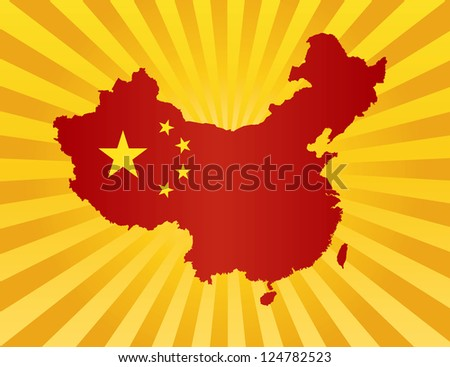 Peoples Republic of China Flag in Country Map Silhouette on Sun Rays Background Illustration Vector - stock vector