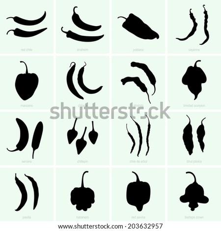 Pepper Varieties - stock vector