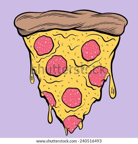 Pepperoni Pizza - stock vector
