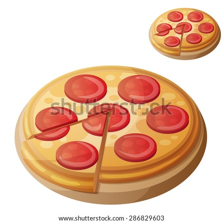 Pepperoni pizza. Detailed vector icon isolated on white background. Series of food and drink and ingredients for cooking. - stock vector
