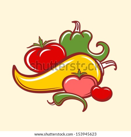 peppers and tomatoes - stock vector