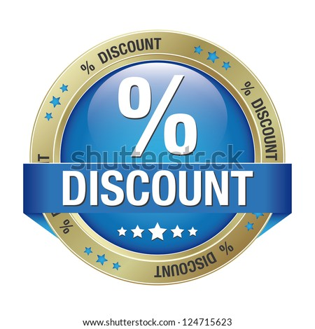 percent discount blue gold button isolated background - stock vector