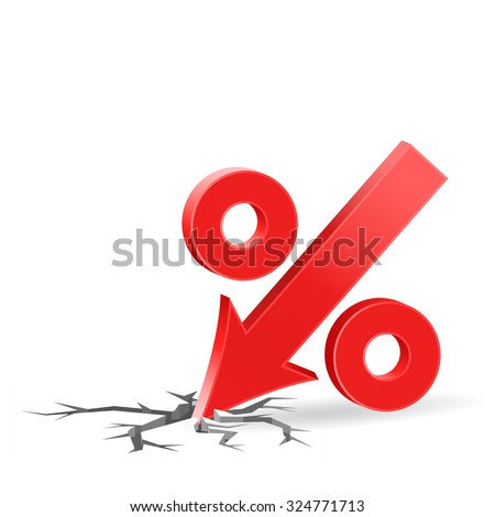 Percent down icon with surface crack, crisis concept sign, 3d vector on white background, eps 10 - stock vector