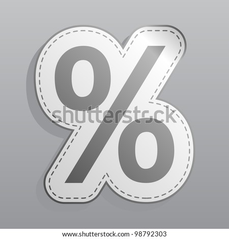percent sticker icon illustration - stock vector