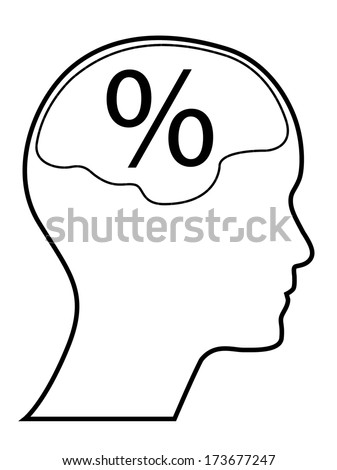 Percentage mark with human head and brain, outline version. Abstract easy to edit eps10 vector design, raster available in my portfolio. - stock vector