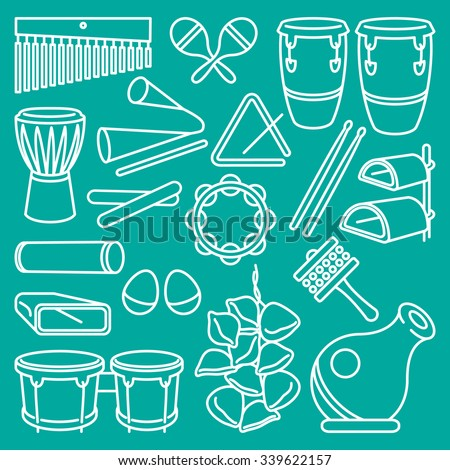Percussion Instruments. Vector drawing of a set of Latin Music Percussion Instruments. White lines on turquoise background. Neat work, easily editable. - stock vector