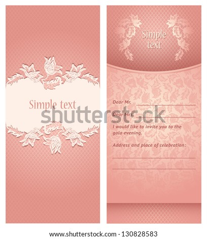 Perfect as invitation, announcement, greeting card, menu and more. For example a invitation wedding. Vector illustration 10eps - stock vector