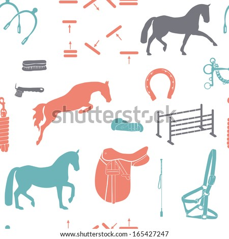 Perfect graphical seamless pattern with horses and horse equipment made in vintage blue, red and grey colors in white background. Fully editable illustration drawn in vector by hand. - stock vector