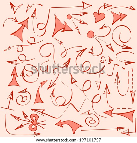 Perfect  hand drawn arrows made in vector. Beautiful fully editable business design element. - stock vector