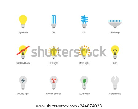 Perfect pictogram collection of office and household light bulb and LED lamp, CFL bulb, bulb with atomic energy sign and eco energy. Flat design style icons set. Isolated on white background. - stock vector