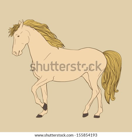 Perfect running horse drawn by hand. Beautiful isolated mustang on beige background. Running elegant horse made in vector. - stock vector