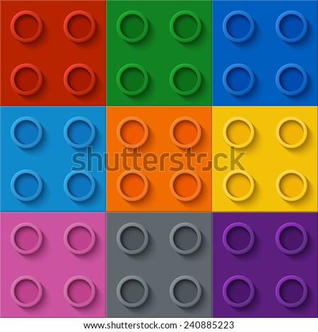 Perfect seamless vector pattern of children plastic parts. 9 colors.  - stock vector