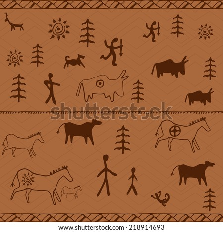 Perfect set of cave paintings. Ethnic seamless pattern. Vector - stock vector