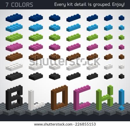 Perfect set of 3D plastic parts. Modern design. - stock vector