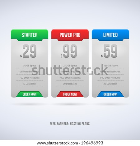 Perfect Web Boxes Hosting Plans For Your Website Design Blue: Banner, Order, Button, Box, List, Bullet  - stock vector