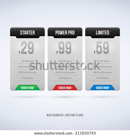 Perfect Web Boxes Hosting Plans For Your Website Design Carbon: Banner, Order, Button, Box, List, Bullet  - stock vector