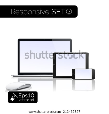 Perfectly detailed modern laptop, glossy tablet and smartphone isolation with computer mouse. EPS 10 illustration - stock vector