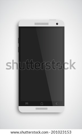 Perfectly detailed modern smart phone isolation vector - stock vector