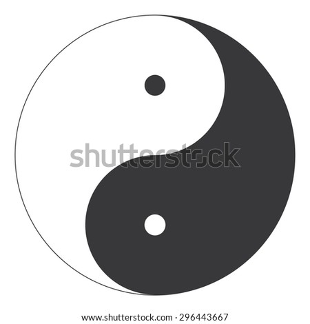 Perfectly lined Yin and Yang oriental religion symbol illustration vector - stock vector