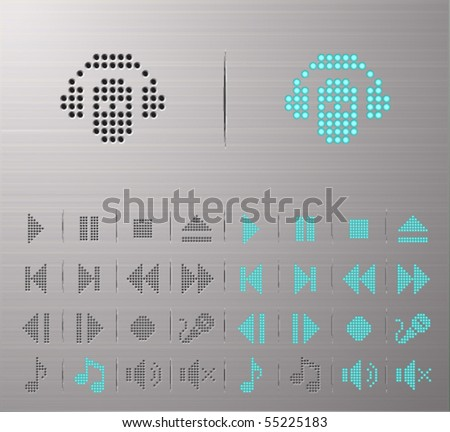 Perforated Audio and media buttons - stock vector