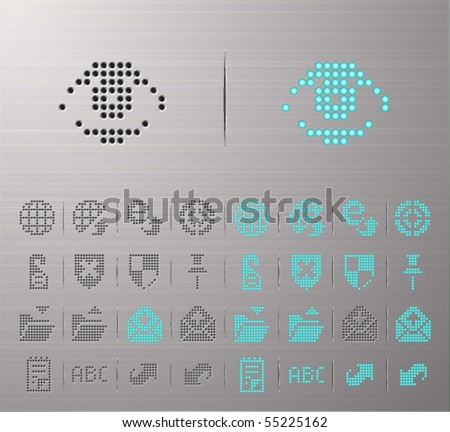 Perforated Internet and Security buttons - stock vector