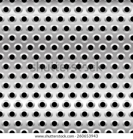 Perforated Metal Background. Punched Metal with Circles. - stock vector