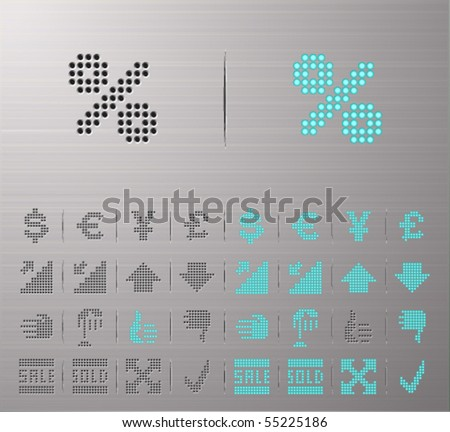 Perforated Money and Banking buttons - stock vector
