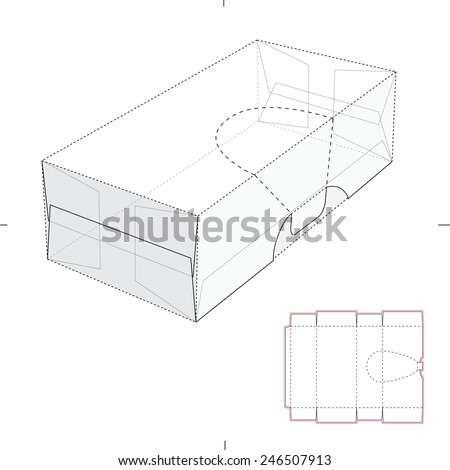 Perforated Resealable Dispenser Box with Die Cut Template - stock vector