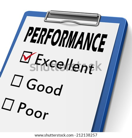 performance clipboard with check boxes marked for excellent, good and poor - stock vector