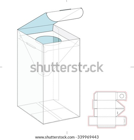 Perfume or Cosmetics Box with Die Cut Template - stock vector