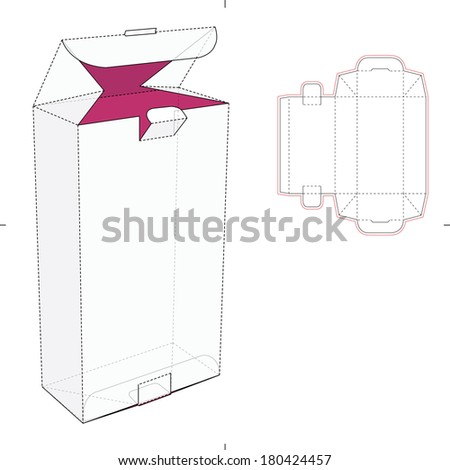 Perfume Tall Box with Die-cut Pattern - stock vector