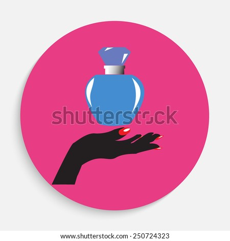 Perfume with hand icon illustration in flat style - stock vector