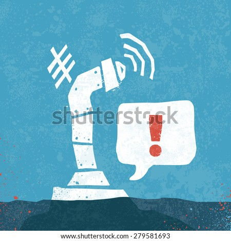 Periscope submarine scope illustration with signal graphic - stock vector