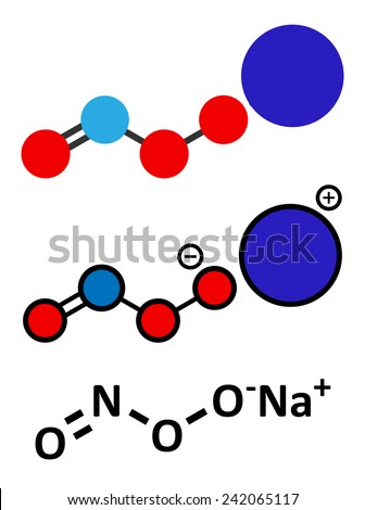 Peroxynitrite (sodium) reactive nitrogen species molecule. Formed by the reaction of the free radicals nitric oxide and superoxide in the human body. Skeletal formula and stylized representations. - stock vector