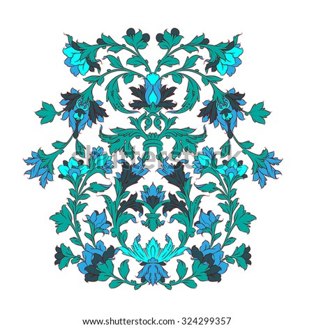 Persian ornament turquoise on white  - stock vector