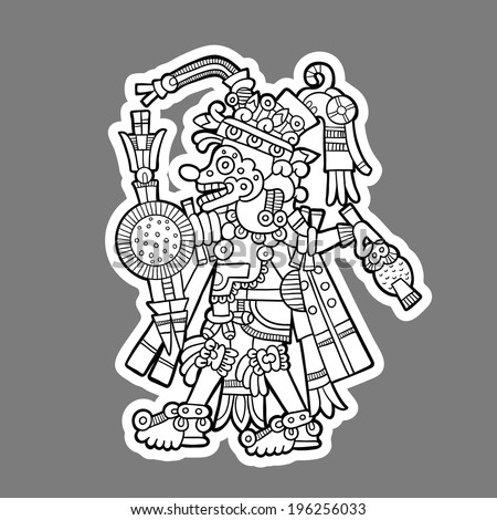 Person. Black and white image of the Maya. Maya designs. Maya design elements. - stock vector