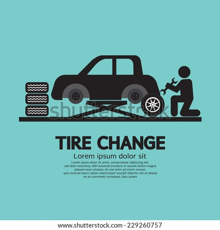 Person Changing Automobile Wheel Tire Graphic Symbol Vector Illustration - stock vector