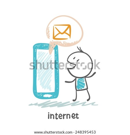 person communicates with people through the Internet from a mobile phone illustration - stock vector