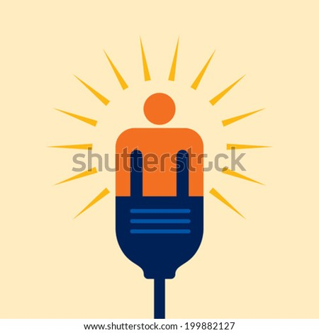 person connecting a cable. Electric plug - stock vector