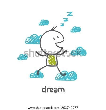 person dreams and runs in the clouds, illustrator - stock vector