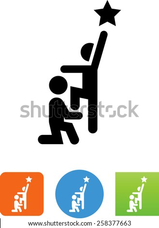 Person helping another reach for a star. Vector icons for video, mobile apps, Web sites and print projects.  - stock vector