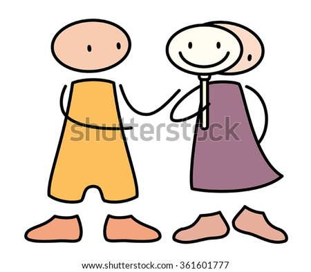person hiding behind a mask with someone who cares - stock vector