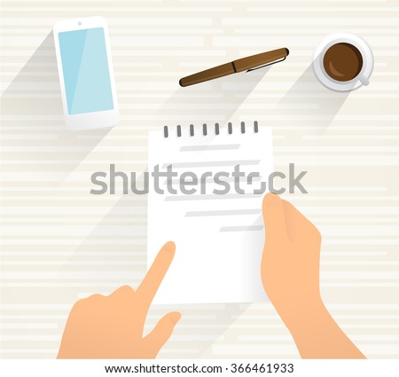 Person hold a document in his hand. Flat vector drawing, - stock vector