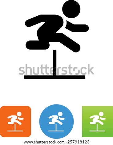 Person hurdling symbol for download. Vector icons for video, mobile apps, Web sites and print projects. - stock vector