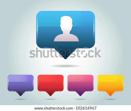 Person Icon Button - stock vector