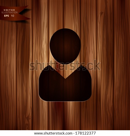 Person icon.. Wooden background. - stock vector
