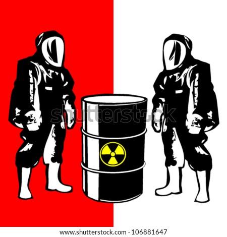person in biohazard suit - stock vector