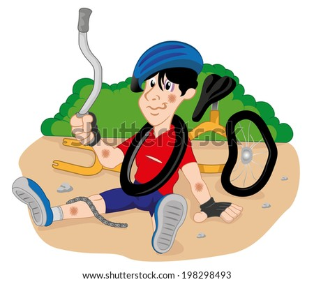 Person injured cyclist  - stock vector