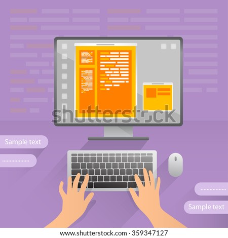 Person is coding on personal computer, web design, programming code. Typing text. Vector created illustration. Isolated objects. Sample text.  - stock vector