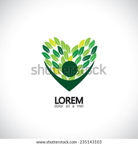 person loving trees, plants & nature - eco concept vector. This also represents nature conservation, green technology, sustainable development & growth, balance & harmony, leaves as heart shape - stock vector